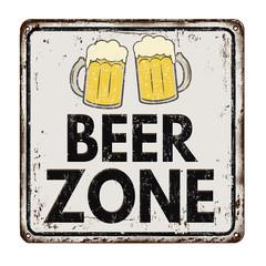 Beer zone vintage rusty metal sign