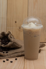 iced coffee on wood background