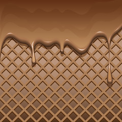 Текстура вафли с текущим жидким шоколадом
