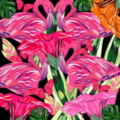Fenicotteri in giungla tropicale
