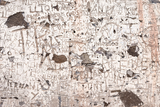 Inscription and names carved on a wall of a collapsed and abandoned farm house on the tableland La Merica on La Gomera