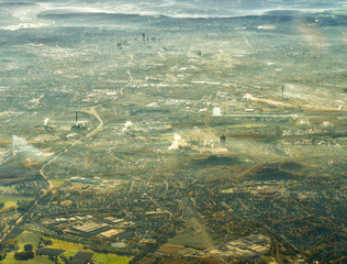 Aerial view of Ruhr district, city of Essen with coal mine, cokery and several other factories