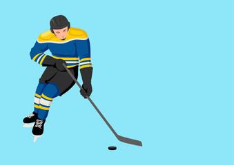 Cartoon illustration of a hockey player