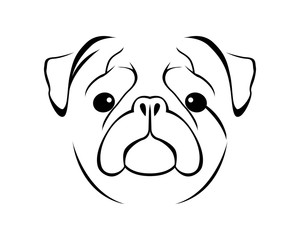 Dog Breed Line Art Logo - Pug
