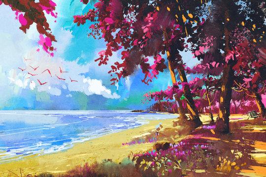 pink trees on the beach,summer,landscape illustration