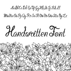Handwritter calligraphic script alphabet. You can use it as font for your design. Letters from alphabet. Doodle art.