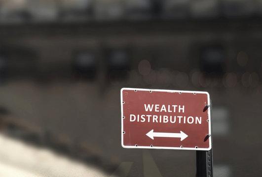 Wealth distribution signpost business concept
