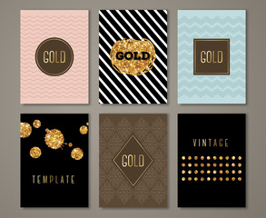 Vintage banners, golden brush strokes and drops