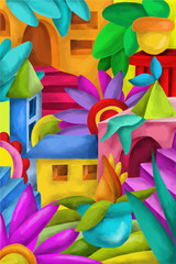 colorful houses and terraces