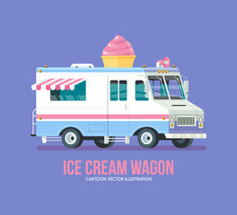 Colorful vector ice cream truck. Modern flat illustration.