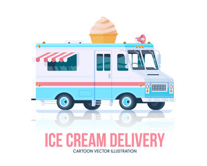Ice cream truck. Vector ice cream vagon. Delivery service. Flat illustration.