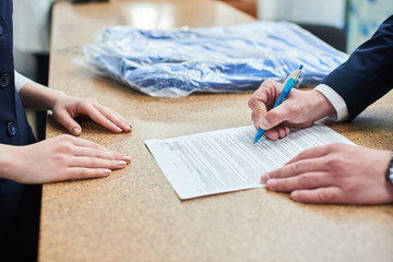 Hand signed in ballpoint pen document