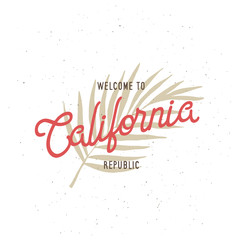 Welcome to California republic t-shirt vector graphics. Vintage style illustration.
