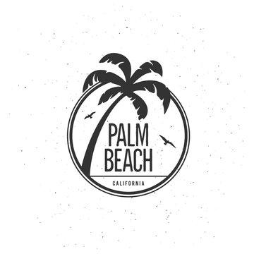 California beach t-shirt vector graphics. Vintage style illustration.