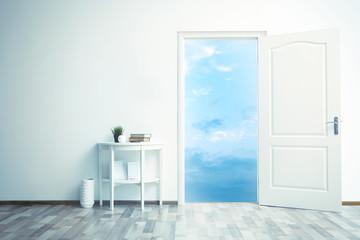 Open door leading to blue sky