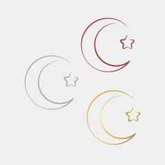 Linear crescent and star symbol.
