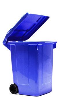 offene, leere Papier -Mülltonne - seitlich isoliert