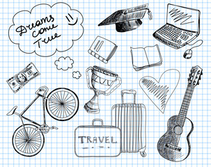 Travel vector icons in notebook