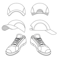 Outlined sneakers & baseball cap set