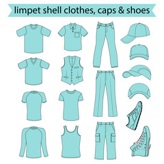 Menswear, headgear & shoes limpet shell collection