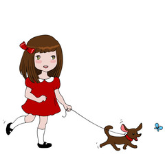 Little girl in red dress is running with her dog. Active children. Cute Girl Vector illustration, happy kid.