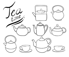 Tea collection. Hand draw vector illustration cup, teapot line