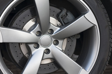 Wheel closeup with brake disc and caliper