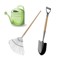 set garden tool vector illustration on white background
