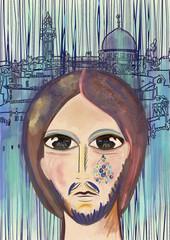 Jesus weep over Jerusalem. Contemporary art. Bible scene.