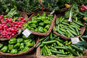 Fresh organic sugar snap peas at a local farmers market.