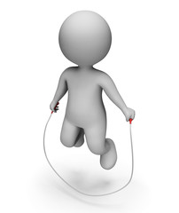 Characters Skipping Indicates Jumping Rope And Exercise 3d Rende