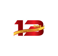 13 happy anniversary red golden ribbon