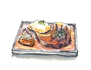 Steak sizzle in hot pan plate watercolor illustration