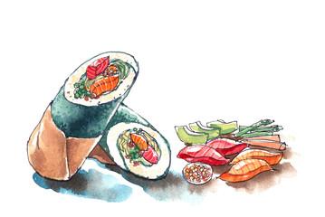 Sushi burrito, Japanese and Mexican food fushion, trendy food wa