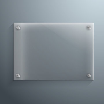 Illustration of Realistic Vector Glass Plate Template Icon. EPS10 Horisontal Vector Plastic Frame