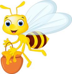 Cartoon bee bring a bucket of honey