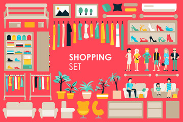 Shopping Big Collection in flat design background concept. Infographic Elements Set With Mall Staff Clothes And Furniture People Interior Fashion