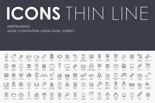 jurisprudence Thin Line Icons