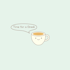 Cute coffee cup vector design illustration.