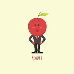 Fruit Story Eps 1. Apple Flat Cartoon Character with Tuxedo