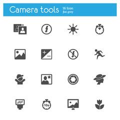 Camera tools flat icons