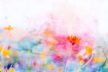 Yellow cosmos flowers image mix with painted watercolor on paper