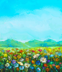 Poster Turquoise Oil painting white, red, yellow daisy- gerbera flowers, wildflower in fields. Meadow landscape with wild flowers, hill and blue sky background. Hand Paint summer floral Impressionist style