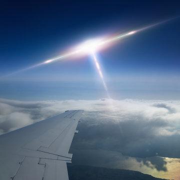 Ufo flies near airplane