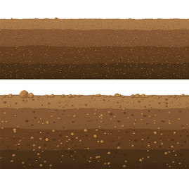 Underground layers of earth, seamless ground surface design.
