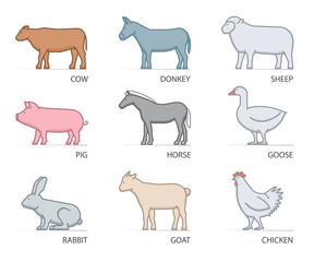 Line vector icon set farm animals