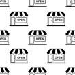 Detaily fotografie Icono plano patrón con tienda sobre fondo blanco