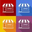 Detaily fotografie Icono plano tienda con sombra en varios colores