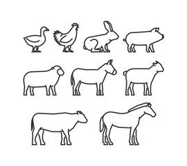 Cool line icons farm animals