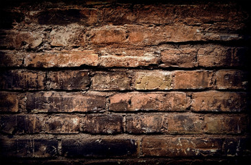 Old brick wall, aged brick background or texture